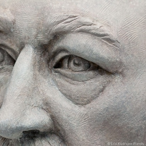 detail portrait of older man in clay ©Lori Kiplinger Pandy