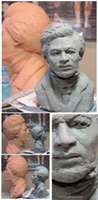 clay sketch and final fired clay historical sculpture portrait of Frederick Douglass ©Lori Kiplinger Pandy