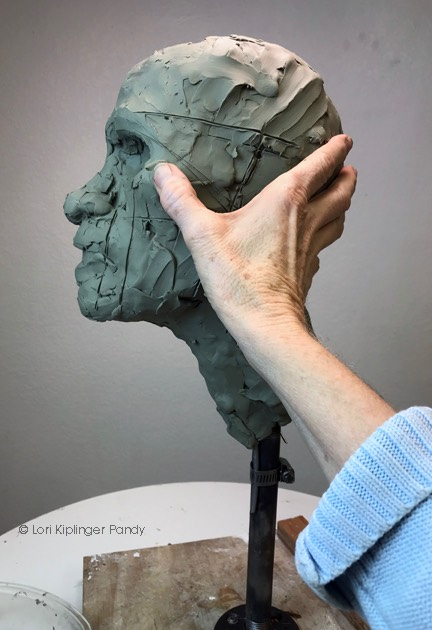 Blocking in the profile in clay ©Lori Kiplinger Pandy