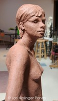 sculpting the standing female figure in clay for bronze ©Lori Kiplinger Pandy
