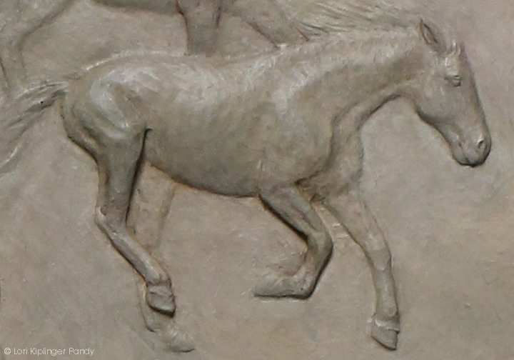 Large Bas Relief sculpture of Native American Girl and horses by sculptor Lori Kiplinger Pandy
