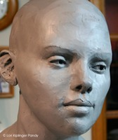 Old Soul ©Lori Kiplinger Pandy. Life sized portrait bust of a young woman with an old soul - work in progress, sculpting the featues