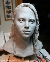 Old Soul ©Lori Kiplinger Pandy. Life sized portrait bust of a young woman with an old soul.