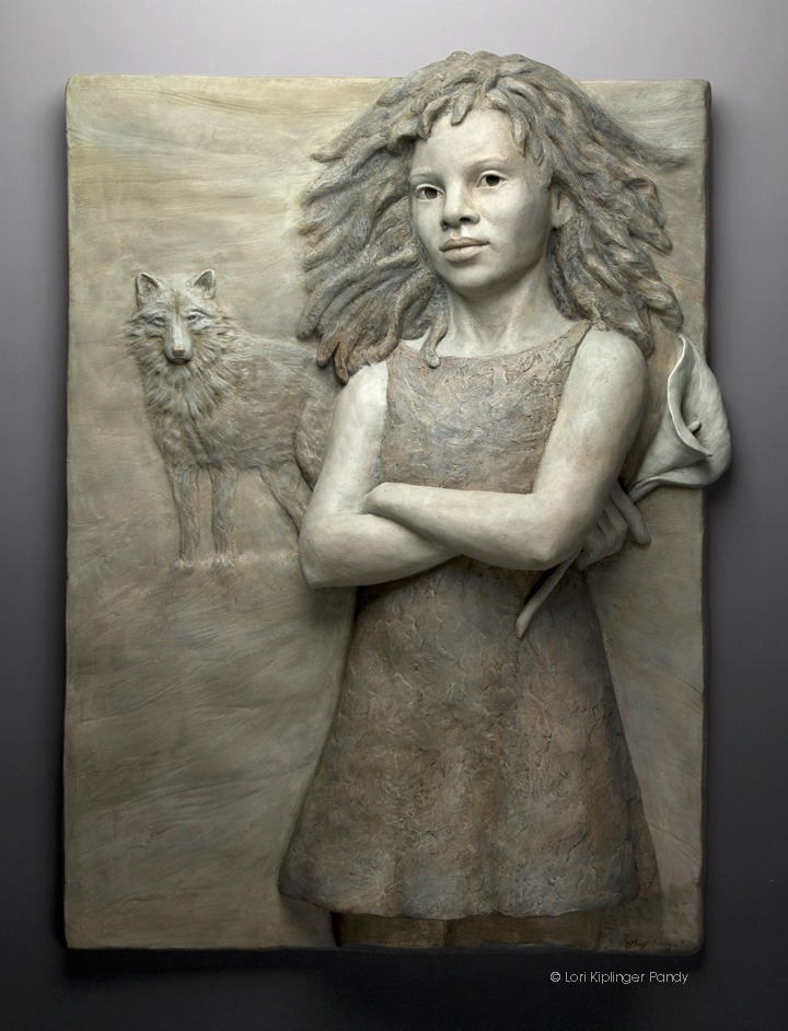 African American girl sculpture. Bas Relief sculpture by Lori Kiplinger Pandy