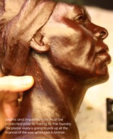 wax chasing Harriet Tubman portrait for bronze casting ©Lori Kiplinger Pandy